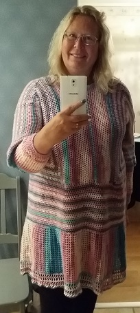 crochet hexagon top sweater virkad tröja av sexkanter