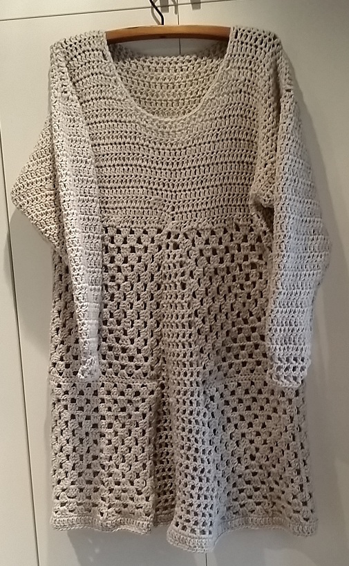 virkad tunika crochet tunic grey wool