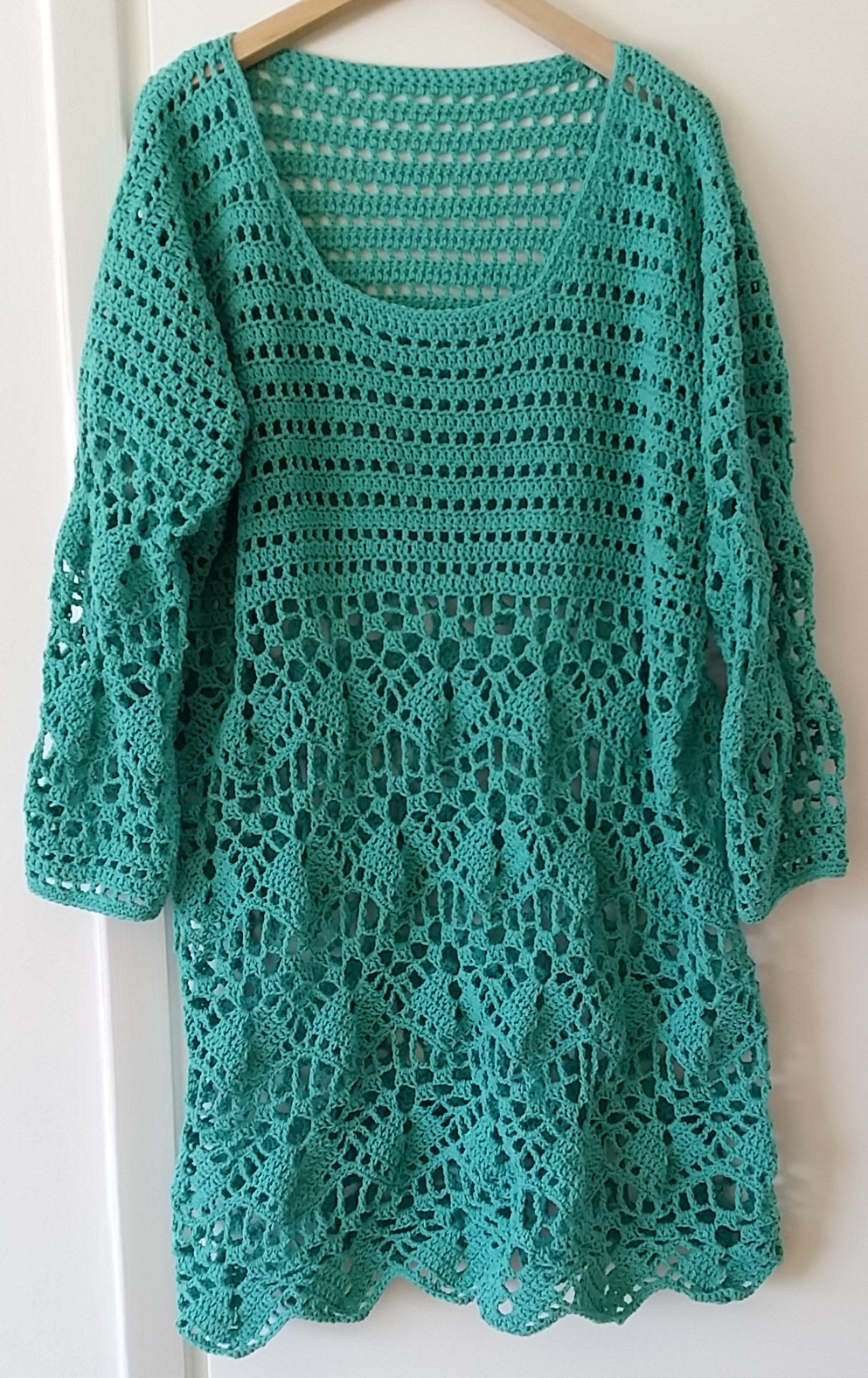 crochet tunic lace dress virkad grön tunika klänning spets