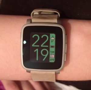 pebble time steel smartwatch smartklocka watchface silver green